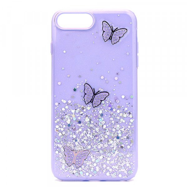 Wholesale Glitter Jewel Butterfly Double Layer Hybrid Case Cover for Apple iPhone SE2020 / 8 / 7 / 6 (Purple)