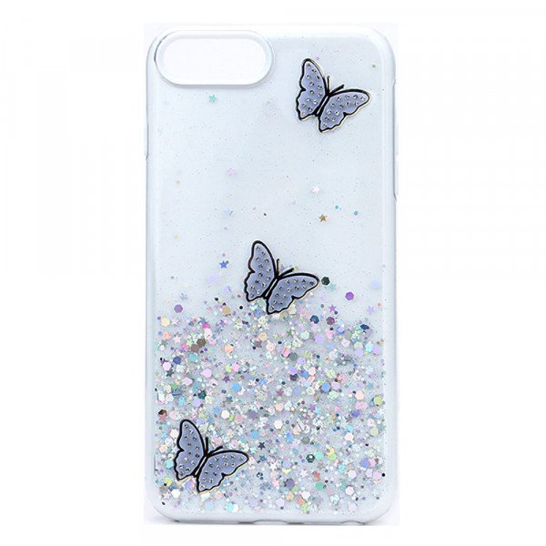 Wholesale Glitter Jewel Butterfly Double Layer Hybrid Case Cover for Apple iPhone SE2020 / 8 / 7 / 6 (White)