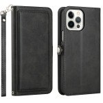 Double Layer Card Slots Flip Wallet Case with Strap and Stand for Apple iPhone 13 Pro [6.1] (Black)