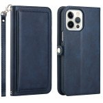 Double Layer Card Slots Flip Wallet Case with Strap and Stand for Apple iPhone 13 Pro [6.1] (Navy Blue)