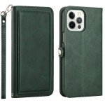 Double Layer Card Slots Flip Wallet Case with Strap and Stand for Apple iPhone 13 Pro [6.1] (Green)