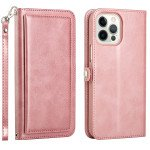 Double Layer Card Slots Flip Wallet Case with Strap and Stand for Apple iPhone 13 Pro [6.1] (Rose Gold)