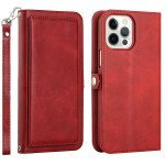Double Layer Card Slots Flip Wallet Case with Strap and Stand for Apple iPhone 13 Pro [6.1] (Red)