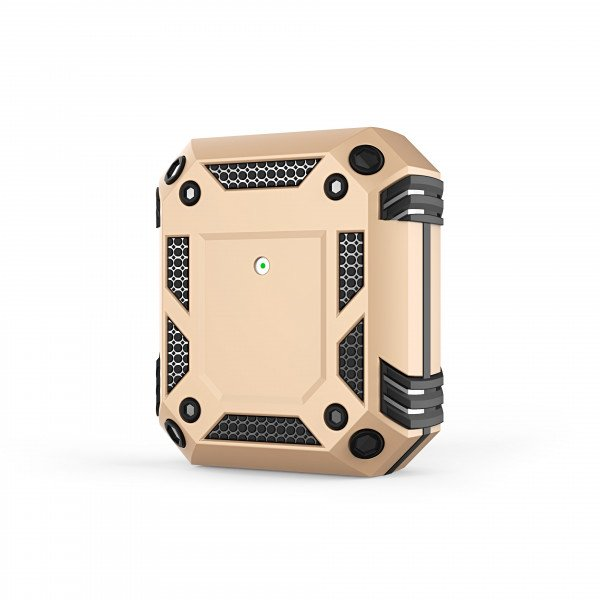 Wholesale Tech Armor Heavy Duty Hybrid Case with Hook for Apple Airpod 2 / 1 (Gold)