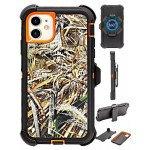 Premium Camo Heavy Duty Case with Clip for iPhone 11 [6.1 inch] (Grass-Orange)