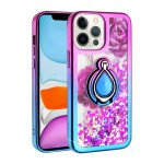 Star Dust Liquid Armor Ring Stand Hybrid Case for Apple iPhone 13 Pro [6.1] (Hot Pink / Blue)