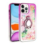 Star Dust Liquid Armor Ring Stand Hybrid Case for Apple iPhone 13 Pro [6.1] (Hot Pink / Silver)