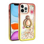 Star Dust Liquid Armor Ring Stand Hybrid Case for Apple iPhone 13 Pro [6.1] (Rose Gold / Gold)