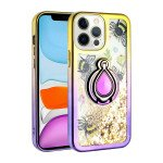 Star Dust Liquid Armor Ring Stand Hybrid Case for Apple iPhone 13 Pro [6.1] (Gold / Purple)