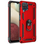 Wholesale Tech Armor Ring Stand Grip Case with Metal Plate for Samsung Galaxy A12 (Red)