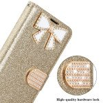 Wholesale Ribbon Bow Crystal Diamond Flip Book Wallet Case for Apple iPhone 13 [6.1] (Hot Pink)
