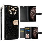 Wholesale Ribbon Bow Crystal Diamond Flip Book Wallet Case for Apple iPhone 13 [6.1] (Black)