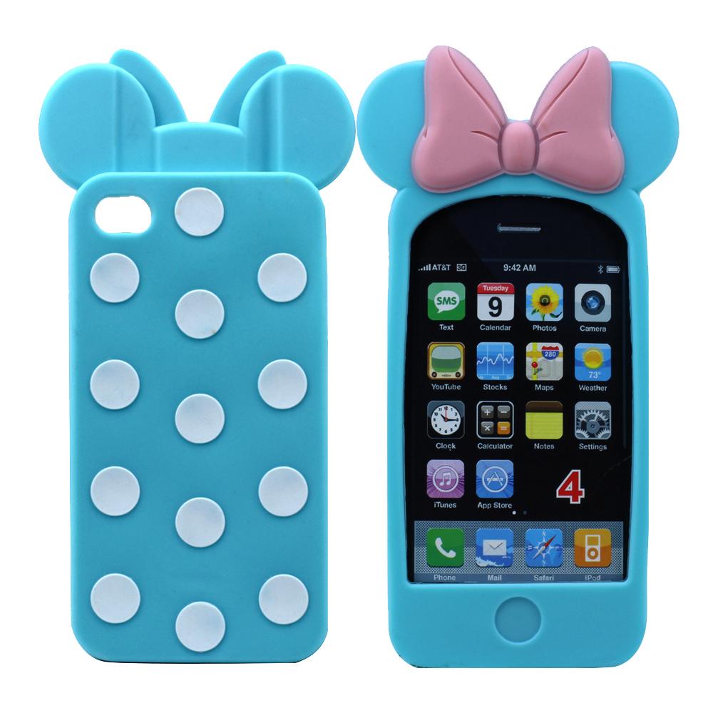 Wholesale iPhone 4S/4 3D Ribbon Bow Case (Light Blue)