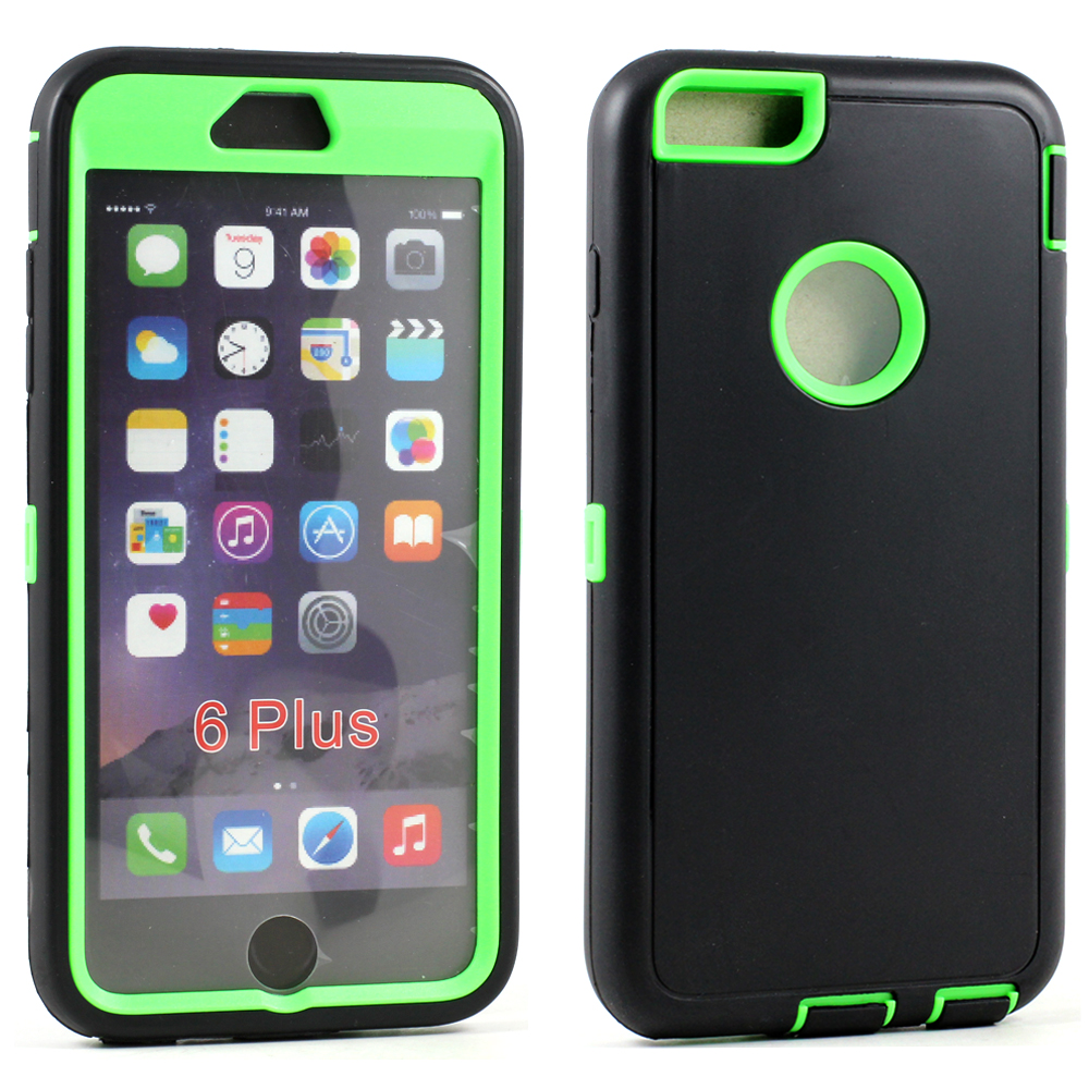 brand new 16399 6356e Wholesale Apple iPhone 6 Plus 5.5 Armor Defender Case (Black Green)