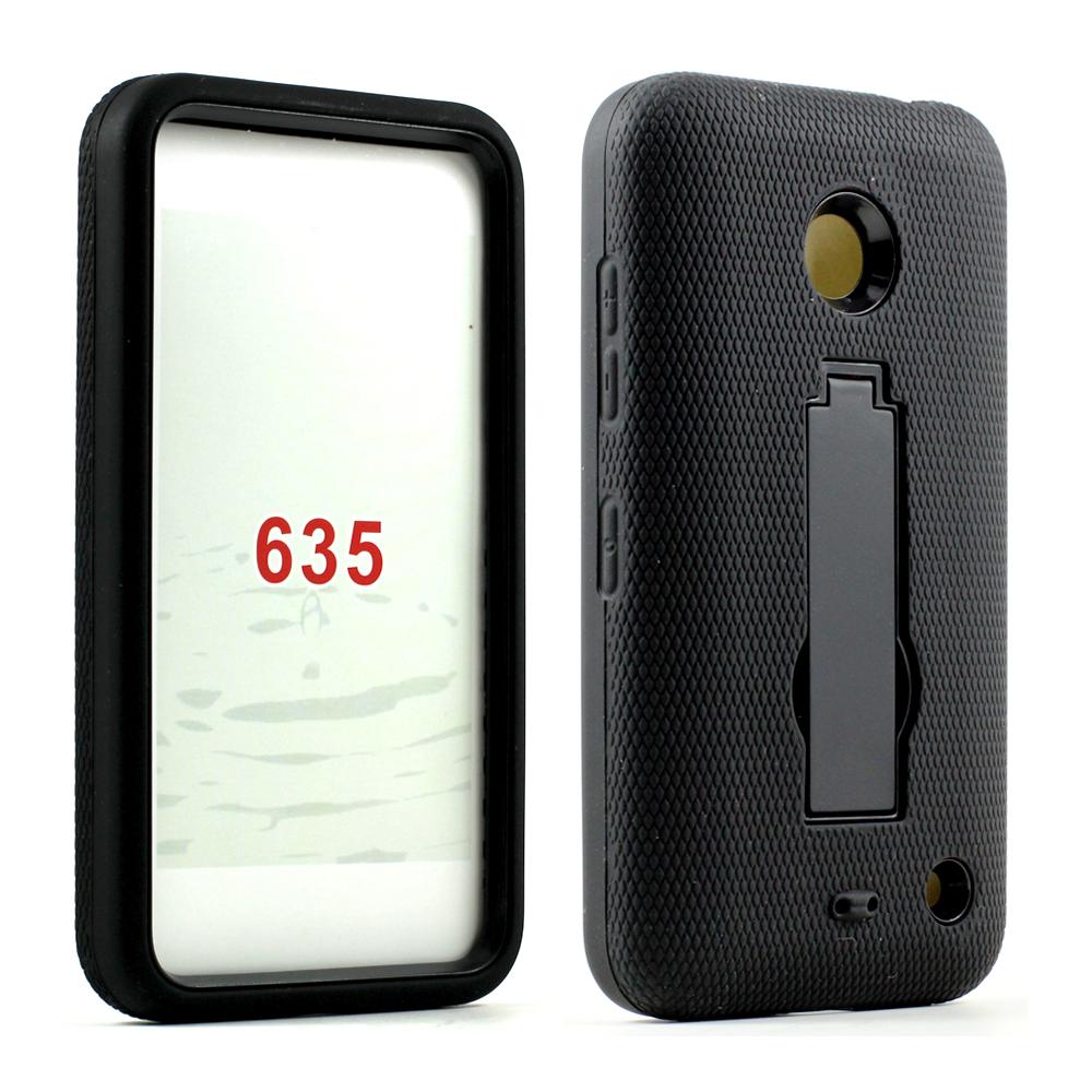 new concept c08d7 52730 Wholesale Nokia Lumia 635 Armor Hybrid Stand Case (Black Black)