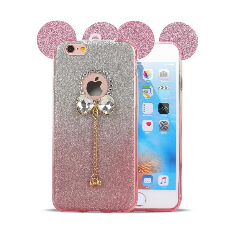 Wholesale iPhone 7 Plus Minnie Diamond Star Charm Necklace