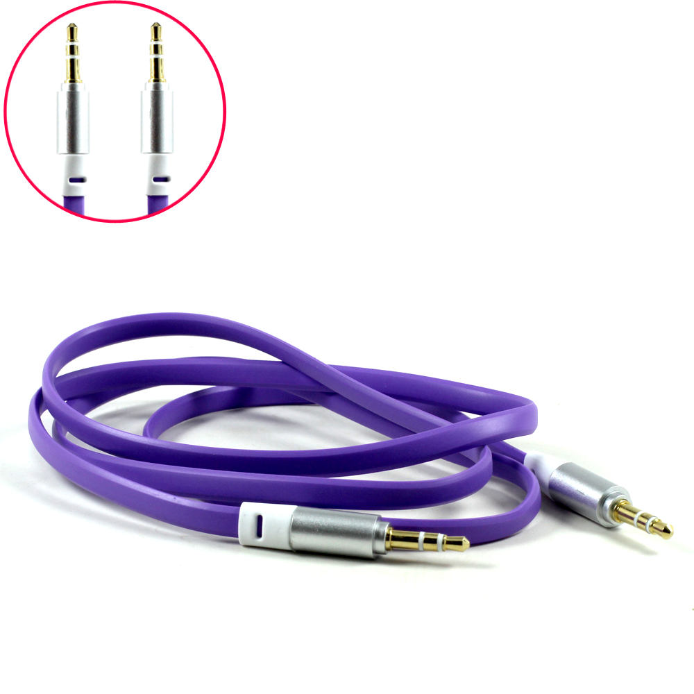 Wholesale Auxiliary Music Cable 3.5mm to 3.5mm Flat Wire Cable (Purple)