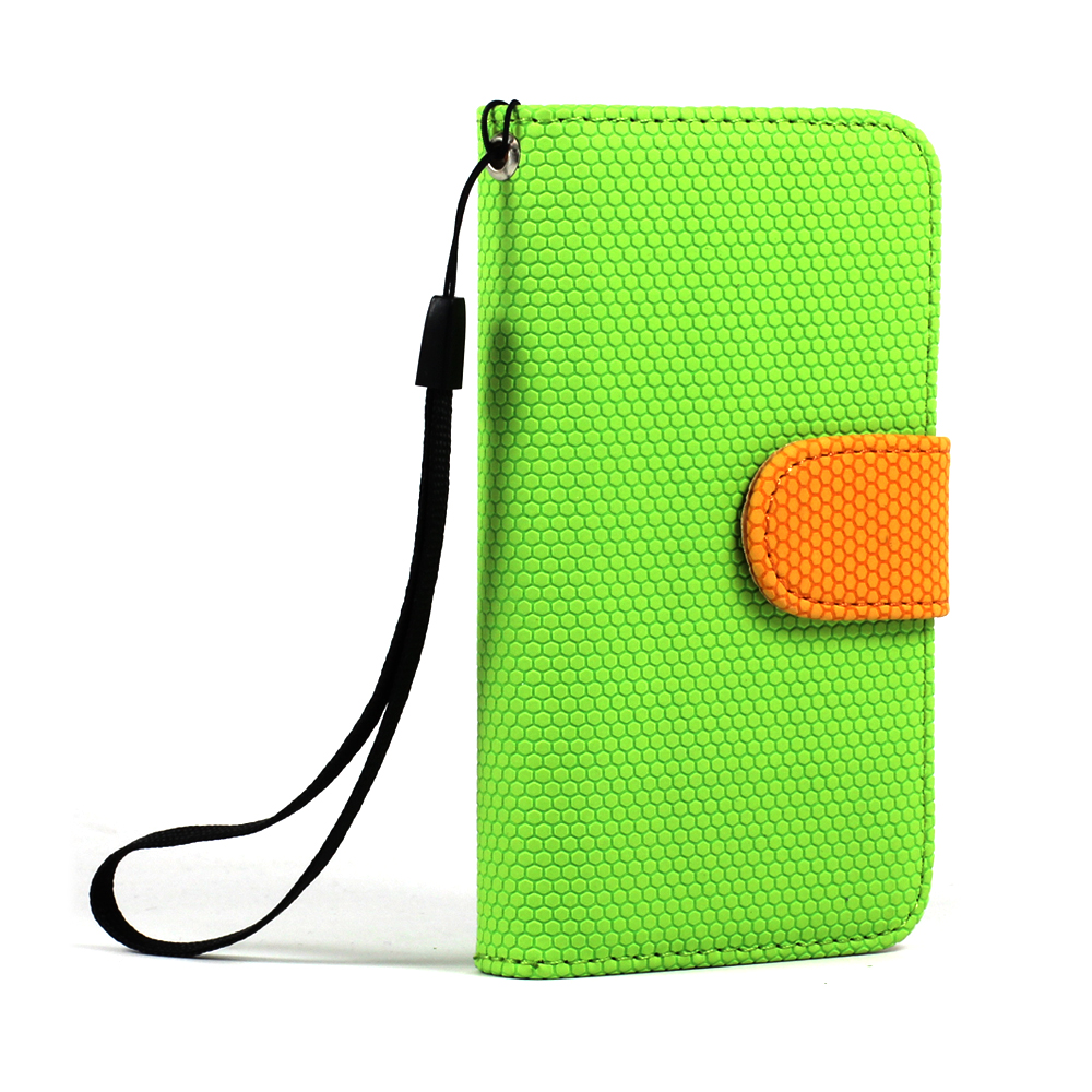 wholesale iphone 4s 4 anti slip flip leather wallet case with stand green orange. Black Bedroom Furniture Sets. Home Design Ideas