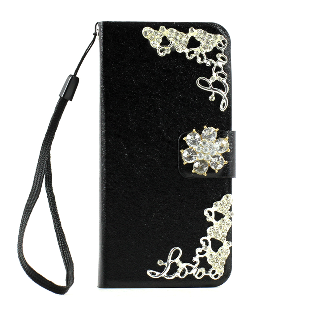 iPhone 5 5S Crystal Flip LEATHER Wallet Case with Stand Strap (Mini Flower Black)