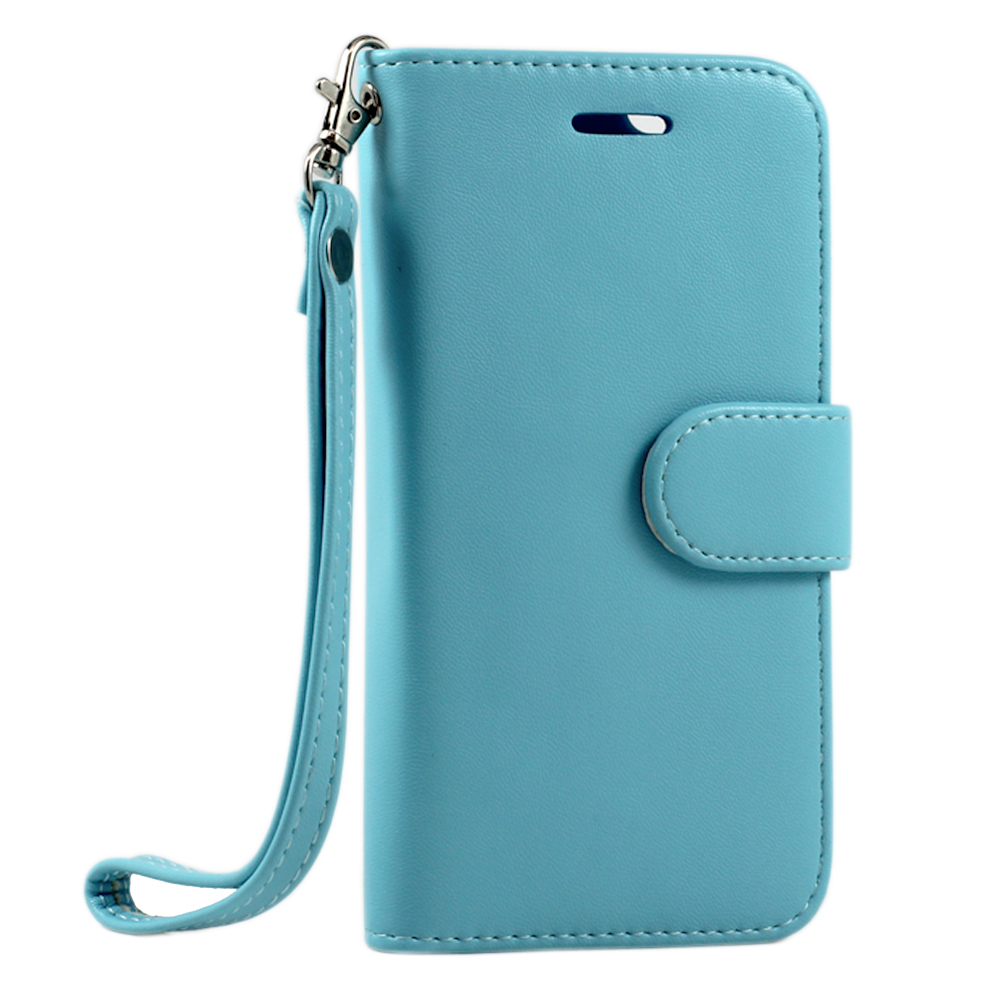 iPhone 6 4.7 Folio Flip LEATHER Wallet Case with Strap (Blue)