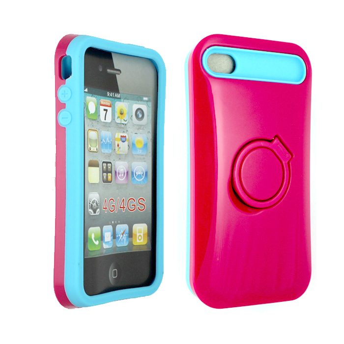 Wholesale iPhone 4 4S Gummy Glow Case (Hot Pink - Blue)