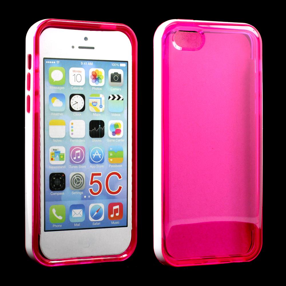 Wholesale Apple Iphone 5c Clear Gummy Bumper Hybrid Case