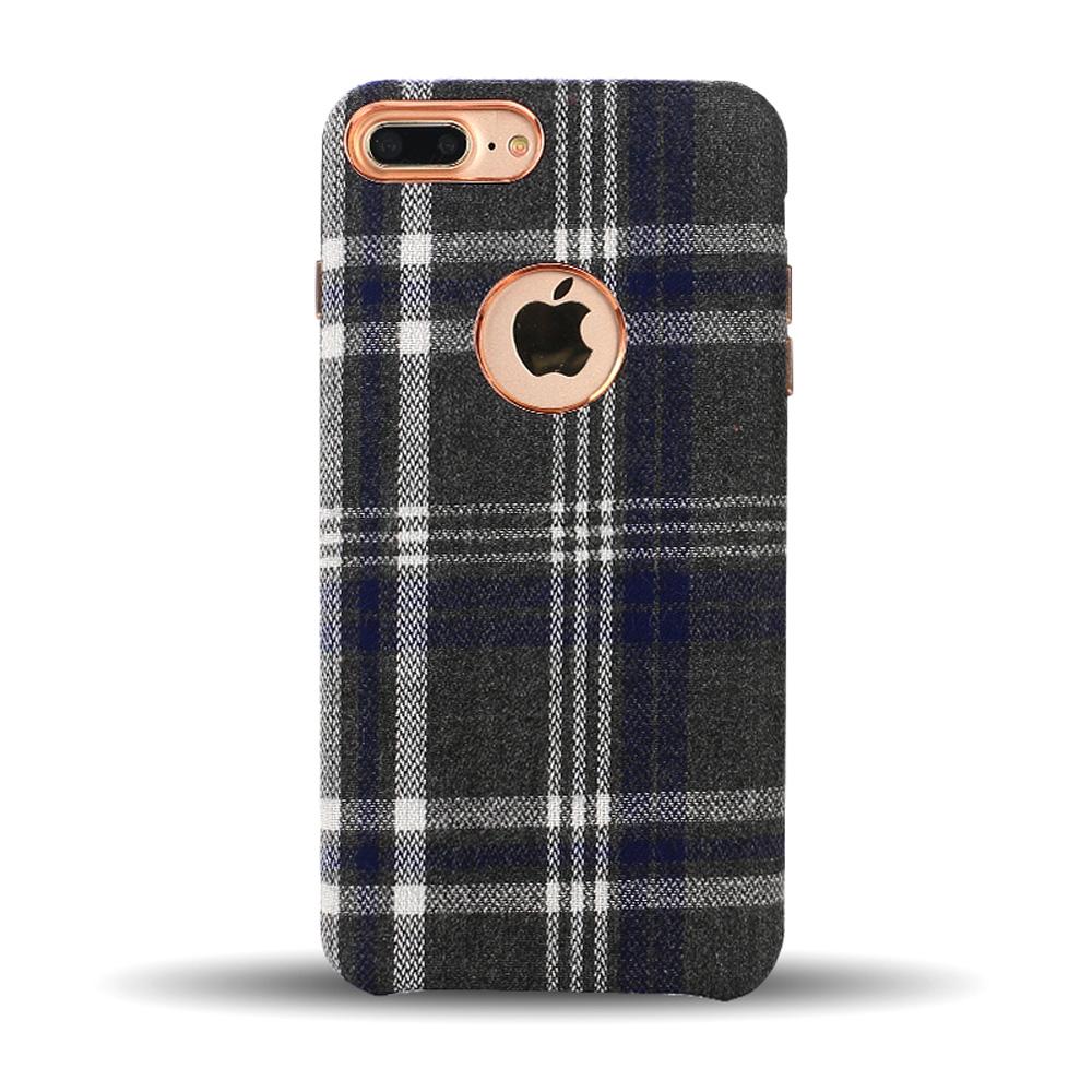 Wholesale Iphone 8 Plus 7 Plus Checkered Plaid Fabric