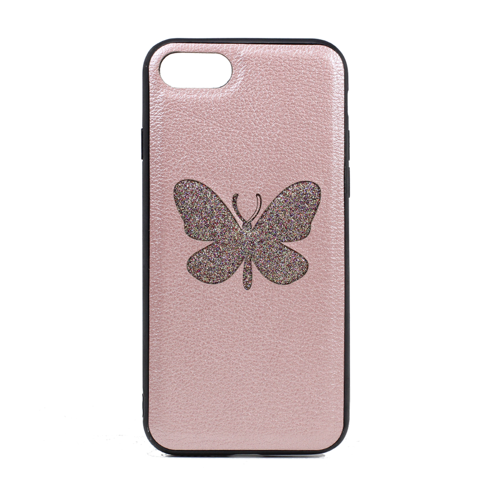 iPhone 8 / 7 Glitter Butterfly Fashion PU LEATHER Case (Rose Gold)
