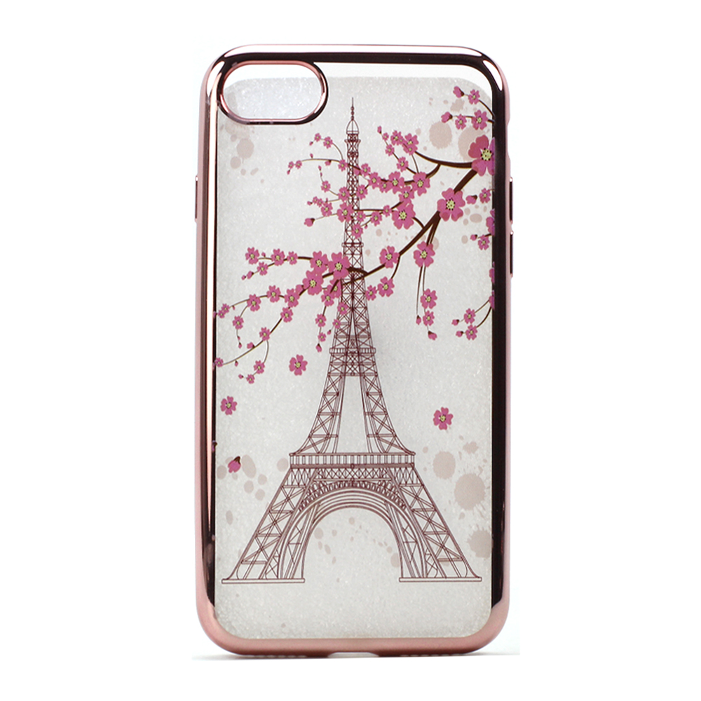 Wholesale Iphone 7 Plus Crystal Clear Rose Gold Design Case Eiffel