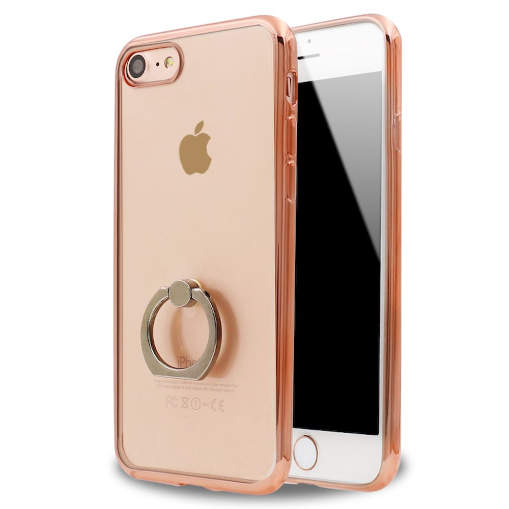 Wholesale Iphone 7 Clear Electroplate Ring Stand Case