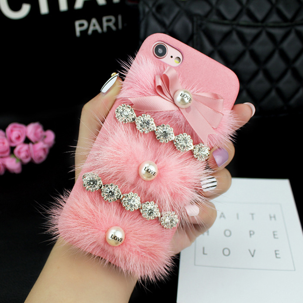 Wholesale Iphone 7 Love Jewel Fur Fuzzy Plush Case Hot Pink