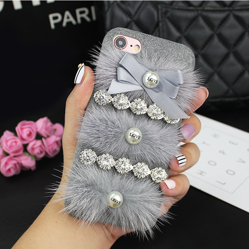 Wholesale iPhone 7 Plus Love Jewel Fur Fuzzy Plush Case (Gray)