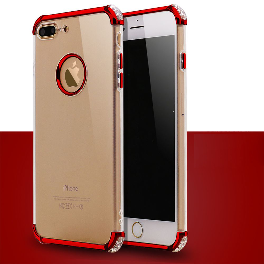 watch 4aa02 75314 Wholesale iPhone 7 Plus Metallic Electroplate Style Clear Case (Red)