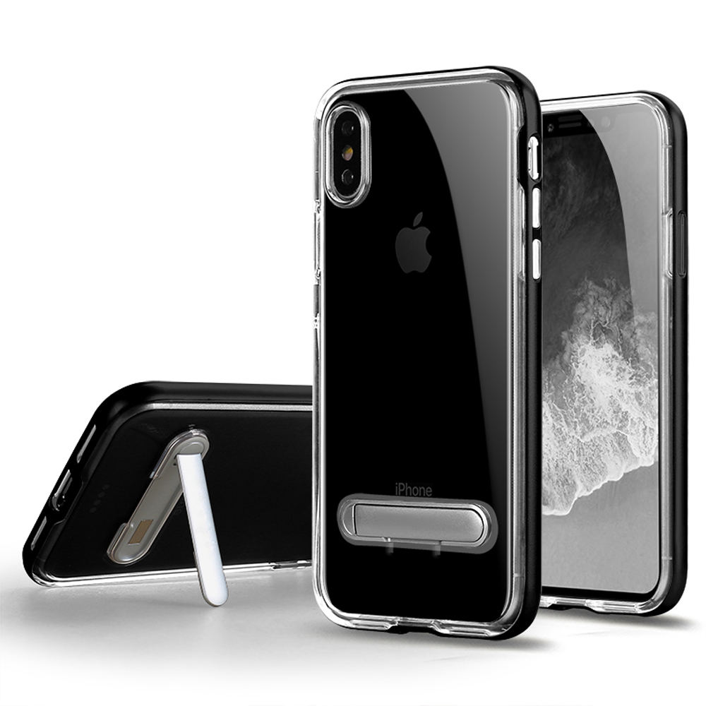 Wholesale iPhone Xs   X (Ten) Clear Armor Bumper Kickstand Case (Black) 601f39d71a1f