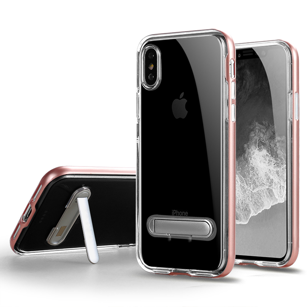 Wholesale Iphone Xs Max Clear Armor Bumper Kickstand Case Rose Gold