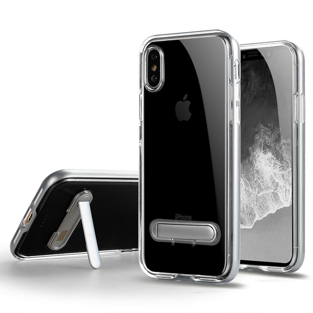 Wholesale iPhone Xs / X (Ten) Clear Armor Bumper Kickstand Case (Silver)
