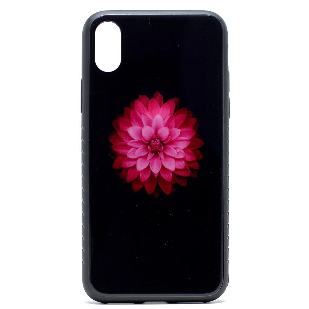 Wholesale Iphone X Ten Design Tempered Glass Hybrid Case Lotus