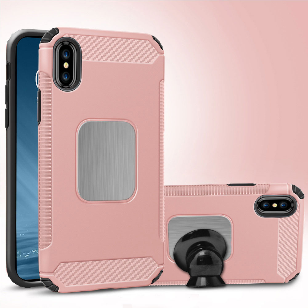 Wholesale IPhone X Ten Metal Plate Hybrid Case For Magnetic Holder Rose Gold