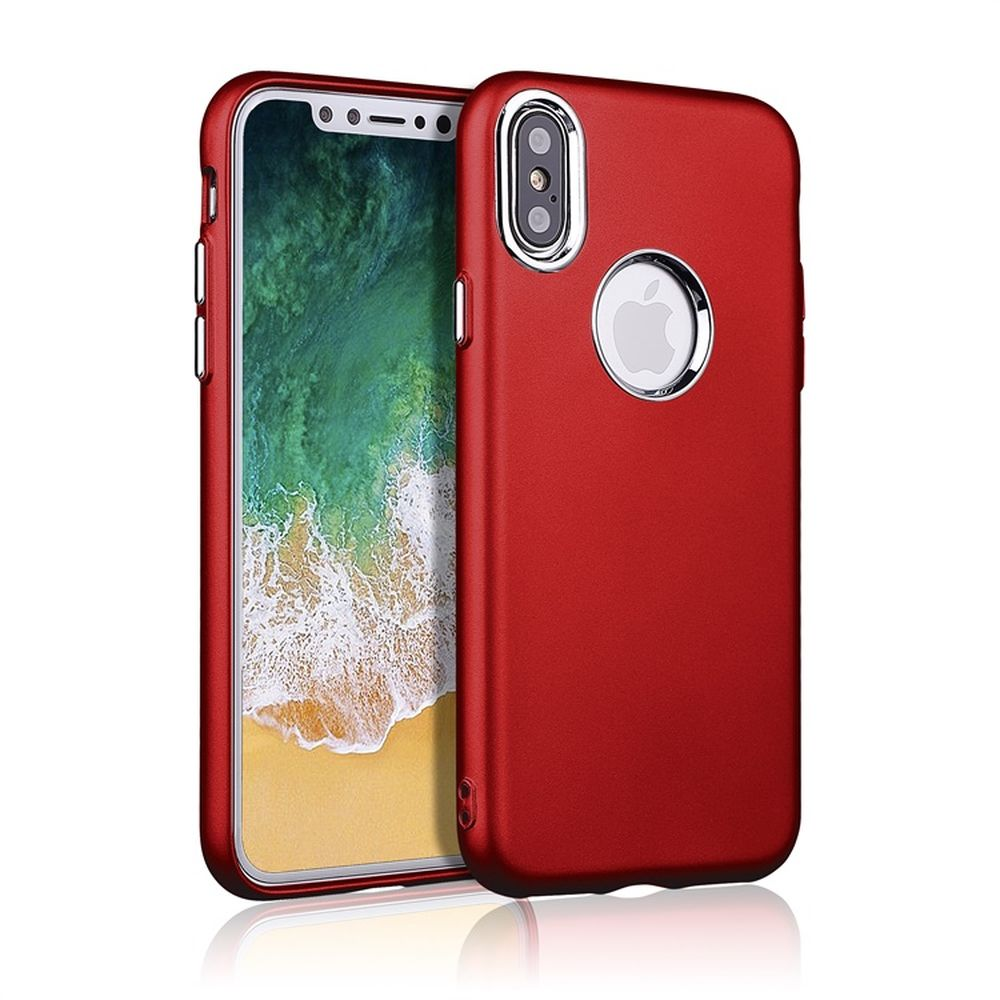 buy popular 18575 9affc Wholesale iPhone X (Ten) Metallic Style Slim Hybrid Case (Red)