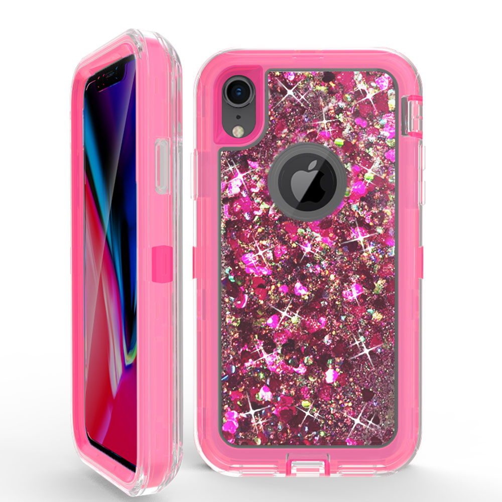 pretty nice f4cc5 4001b Wholesale iPhone Xs Max Star Dust Clear Liquid Armor Defender Case (Hot  Pink)
