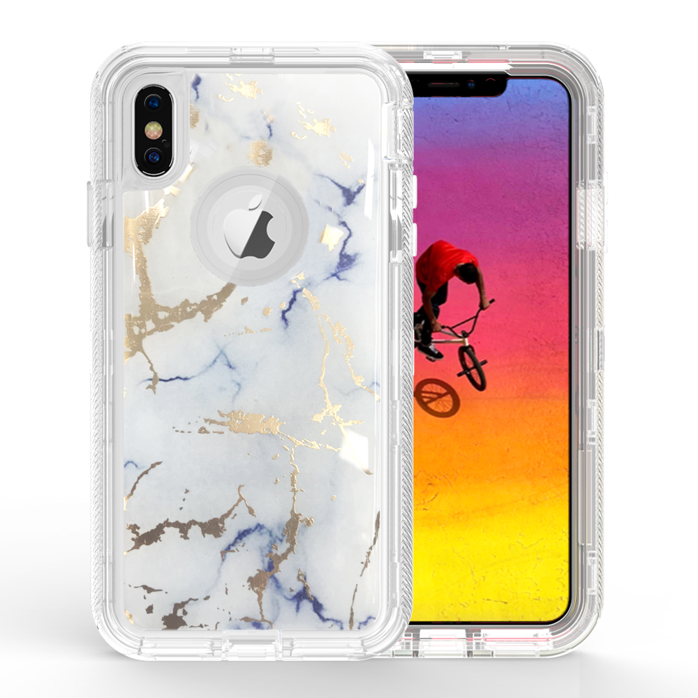 Wholesale Iphone Xs Max Marble Design Clear Armor Defender Case White