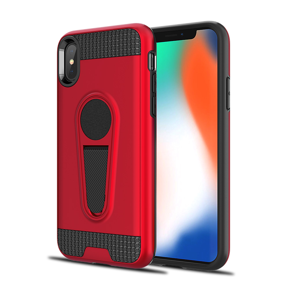 timeless design ea2c7 b1eb6 Wholesale iPhone Xs Max Metallic Plate Stand Case Work with Magnetic ...
