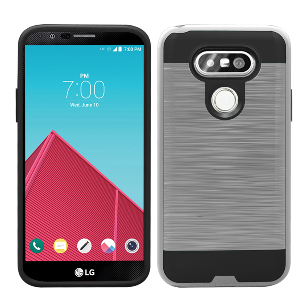 online store 64a06 28aee Wholesale LG G5 Iron Shield Hybrid Case (Silver)