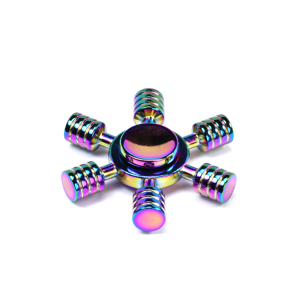 Wholesale 6 Stick Wheel Aluminum Fidget Spinner Toy For