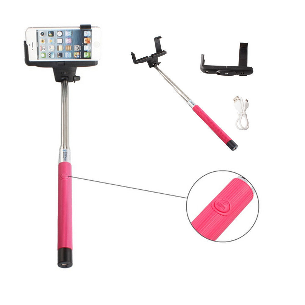 wholesale bluetooth selfie stick with large clip hot pink. Black Bedroom Furniture Sets. Home Design Ideas