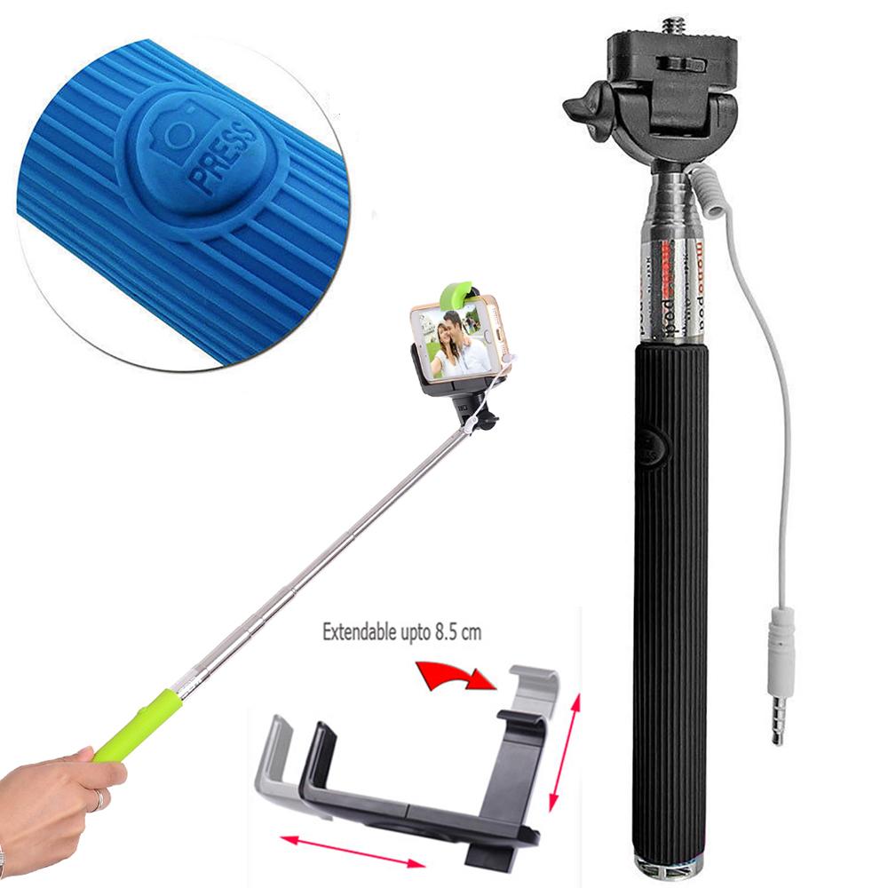 wholesale wired selfie stick with remote large clip black. Black Bedroom Furniture Sets. Home Design Ideas