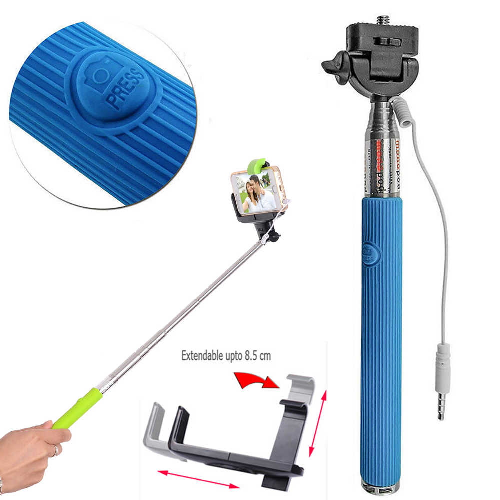 wholesale wired selfie stick with remote large clip blue. Black Bedroom Furniture Sets. Home Design Ideas