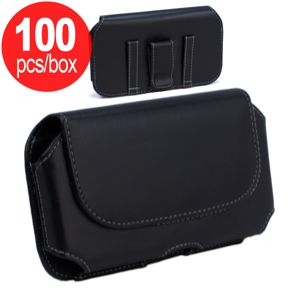 Wholesale 100pc Lot of Galaxy S6 Horizontal Universal Tuff Belt Clip Pouch  (Black) - Box Deal