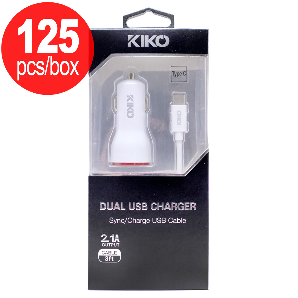 Whole 125pc Lot Of Type C Usb Dual Port Car Charger 2 In 1 White Box Deal